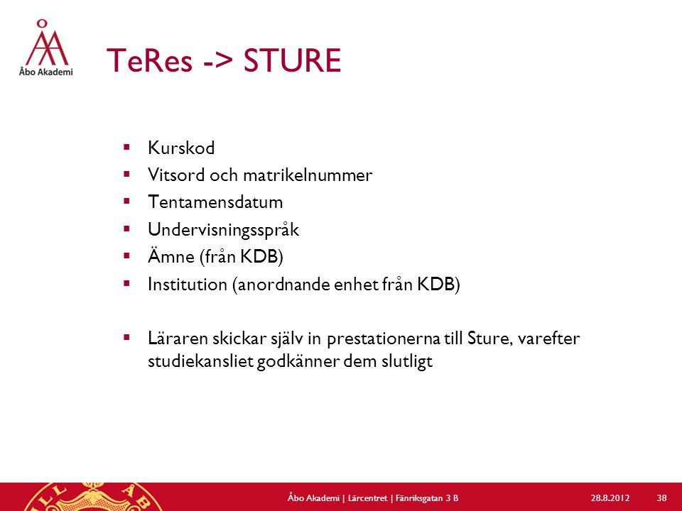 TeRes -> STURE  Kurskod  Vitsord och matrikelnummer  Tentamensdatum  Undervisningsspråk  Ämne (från KDB)  Institution (anordnande enhet från KDB)  Läraren skickar själv in prestationerna till Sture, varefter studiekansliet godkänner dem slutligt 28.8.2012Åbo Akademi | Lärcentret | Fänriksgatan 3 B 38