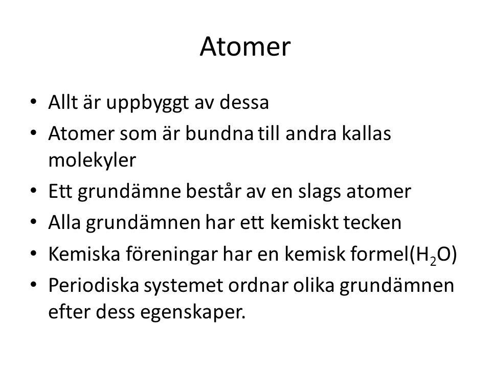 Atomer Allt är uppbyggt av dessa Atomer som är bundna till andra kallas molekyler Ett grundämne består av en slags atomer Alla grundämnen har ett kemi