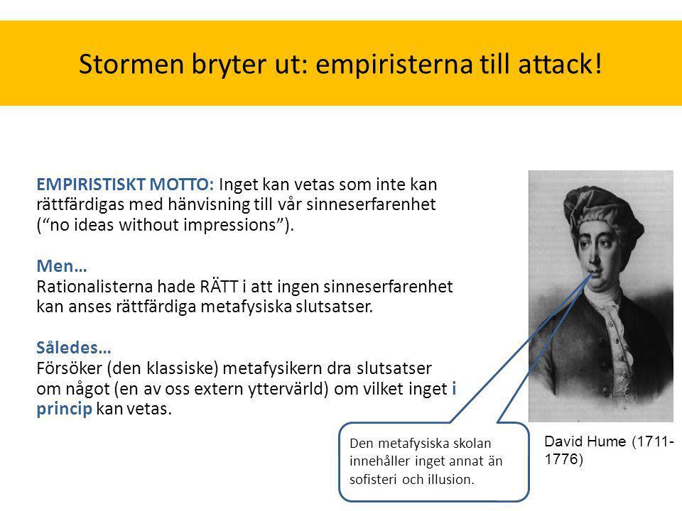 """Stormen bryter ut: empiristerna till attack! EMPIRISTISKT MOTTO: Inget kan vetas som inte kan rättfärdigas med hänvisning till vår sinneserfarenhet ("""""""
