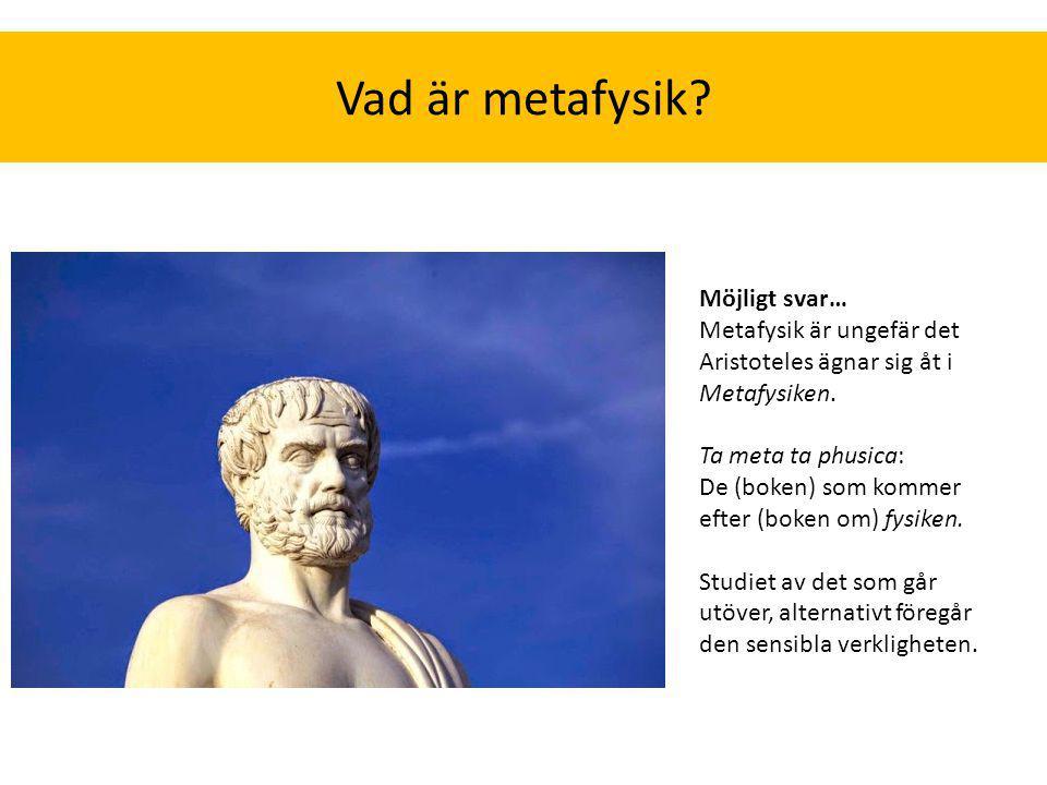 Möjligt svar… Metafysik är ungefär det Aristoteles ägnar sig åt i Metafysiken. Ta meta ta phusica: De (boken) som kommer efter (boken om) fysiken. Stu