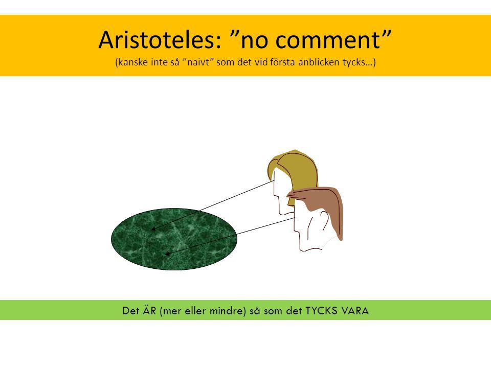 """Aristoteles: """"no comment"""" (kanske inte så """"naivt"""" som det vid första anblicken tycks…) Det ÄR (mer eller mindre) så som det TYCKS VARA"""