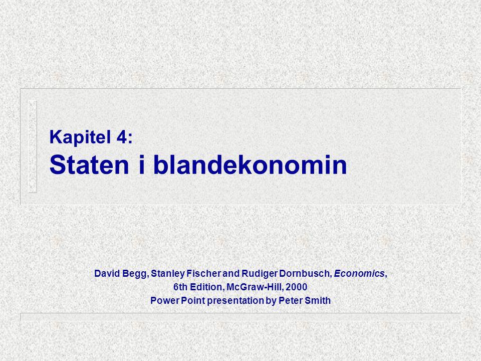 Kapitel 4: Staten i blandekonomin David Begg, Stanley Fischer and Rudiger Dornbusch, Economics, 6th Edition, McGraw-Hill, 2000 Power Point presentatio