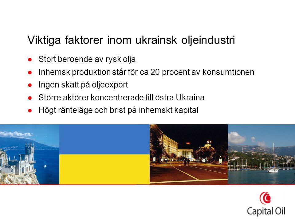 Viktiga faktorer inom ukrainsk oljeindustri ●Stort beroende av rysk olja ●Inhemsk produktion står för ca 20 procent av konsumtionen ●Ingen skatt på oljeexport ●Större aktörer koncentrerade till östra Ukraina ●Högt ränteläge och brist på inhemskt kapital