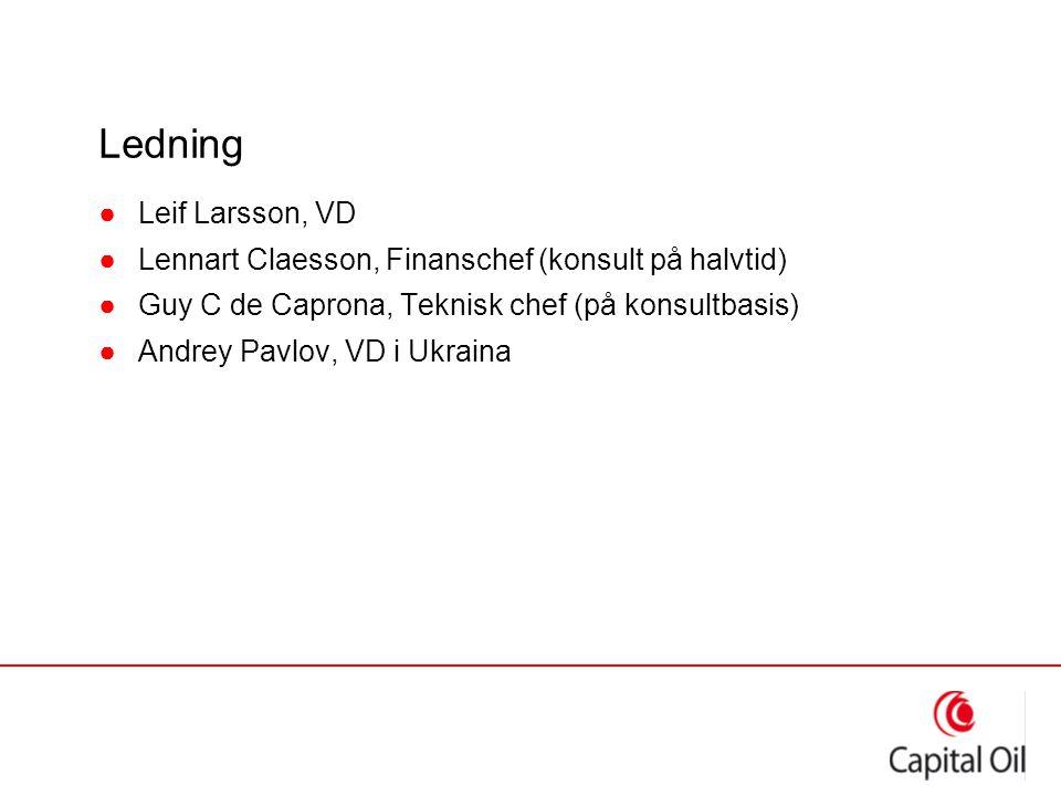 Ledning ●Leif Larsson, VD ●Lennart Claesson, Finanschef (konsult på halvtid) ●Guy C de Caprona, Teknisk chef (på konsultbasis) ●Andrey Pavlov, VD i Uk