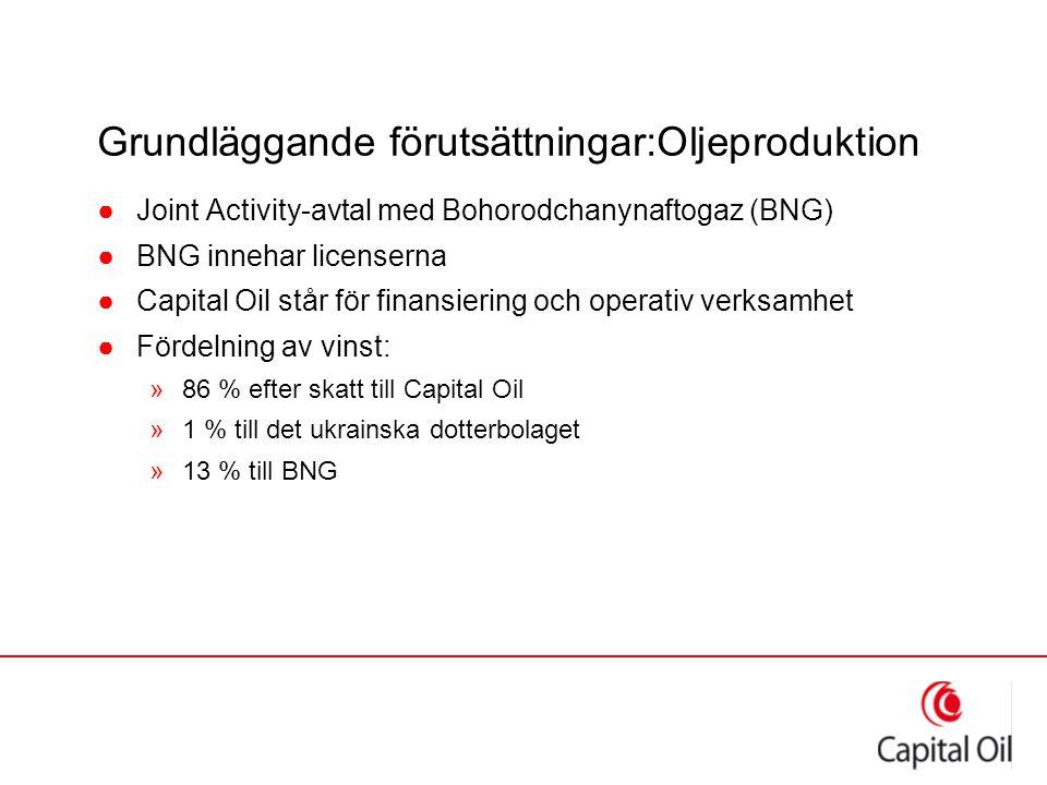 Grundläggande förutsättningar:Oljeproduktion ●Joint Activity-avtal med Bohorodchanynaftogaz (BNG) ●BNG innehar licenserna ●Capital Oil står för finans