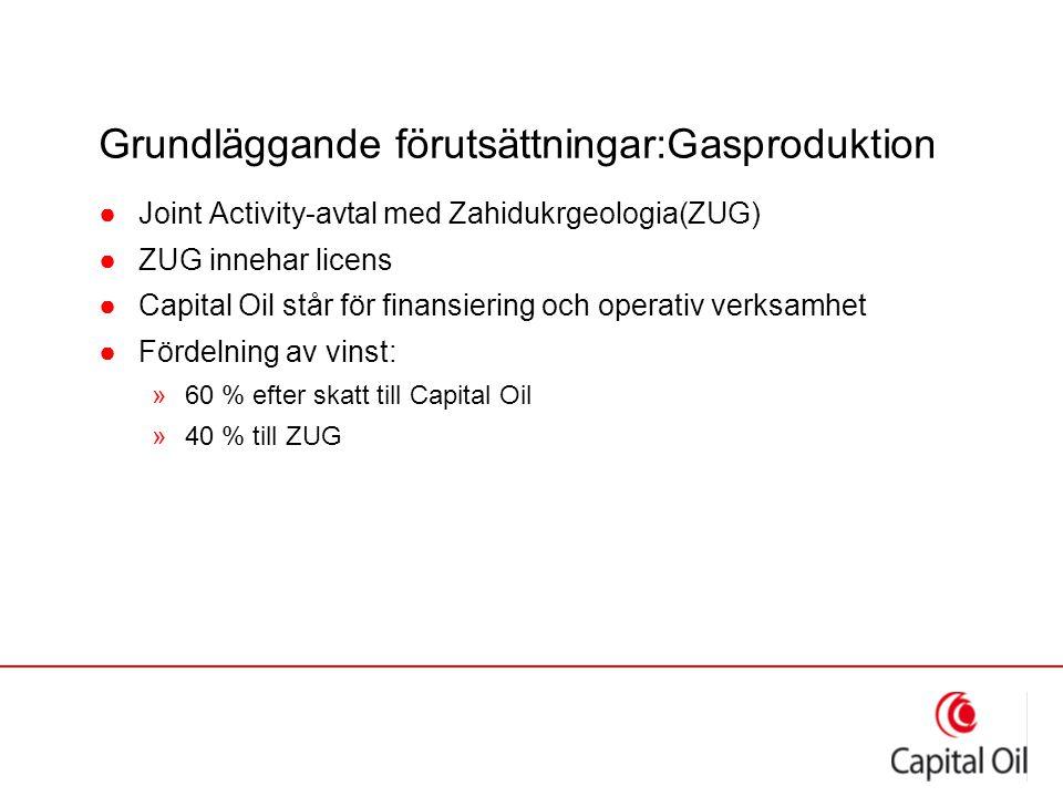 Grundläggande förutsättningar:Gasproduktion ●Joint Activity-avtal med Zahidukrgeologia(ZUG) ●ZUG innehar licens ●Capital Oil står för finansiering och operativ verksamhet ●Fördelning av vinst: »60 % efter skatt till Capital Oil »40 % till ZUG