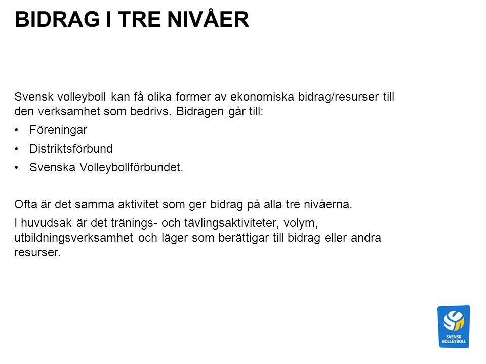 BIDRAG I TRE NIVÅER Svensk volleyboll kan få olika former av ekonomiska bidrag/resurser till den verksamhet som bedrivs.