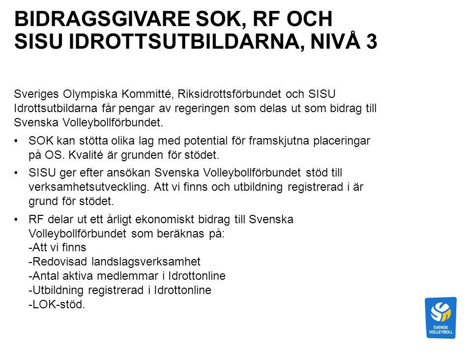 BIDRAGSGIVARE SOK, RF OCH SISU IDROTTSUTBILDARNA, NIVÅ 3 Sveriges Olympiska Kommitté, Riksidrottsförbundet och SISU Idrottsutbildarna får pengar av regeringen som delas ut som bidrag till Svenska Volleybollförbundet.