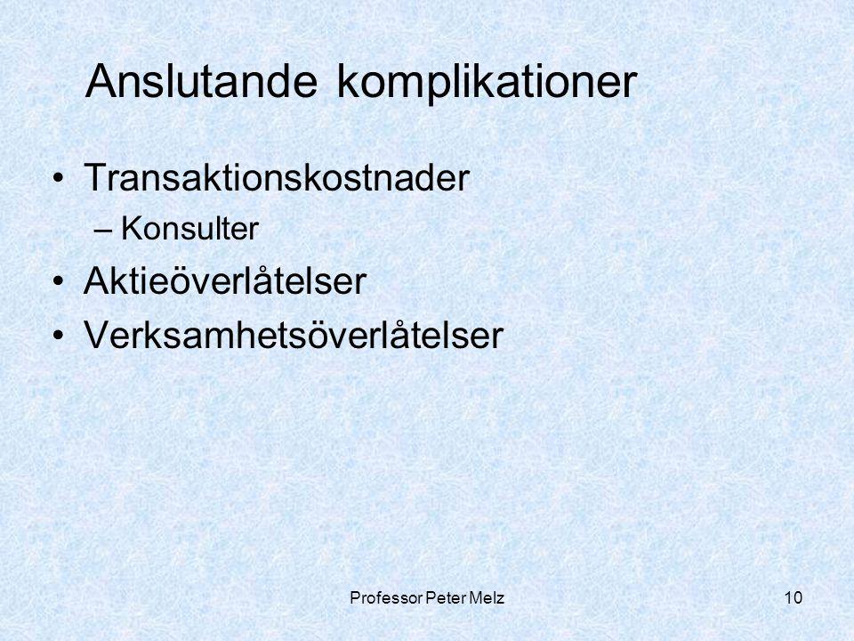 Professor Peter Melz10 Anslutande komplikationer Transaktionskostnader –Konsulter Aktieöverlåtelser Verksamhetsöverlåtelser