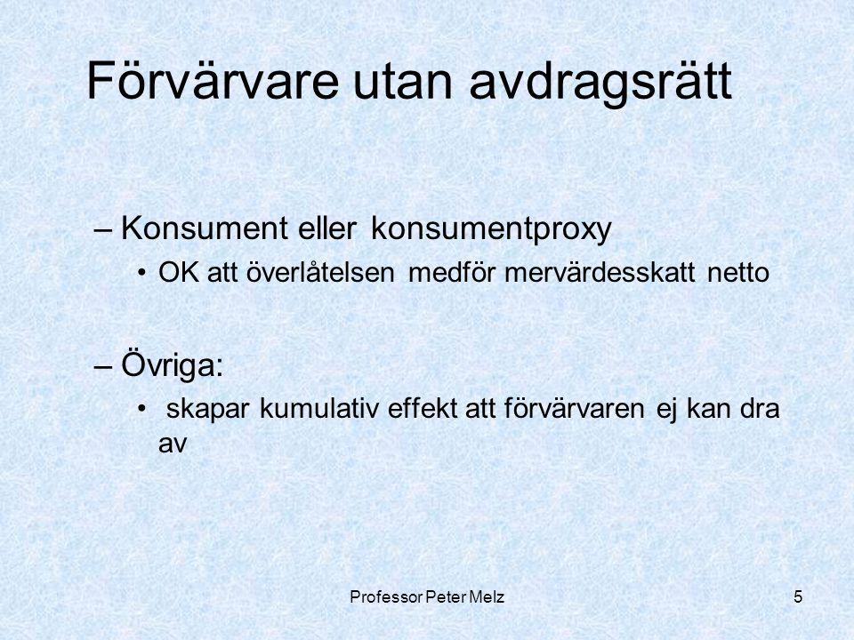 Professor Peter Melz6 Förvärvare med avdragsrätt Nollsumma, men Administrativa kostnader Kreditkostnader