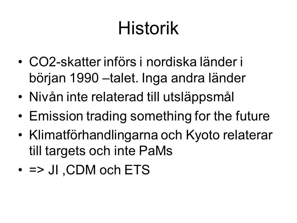 Historik CO2-skatter införs i nordiska länder i början 1990 –talet.