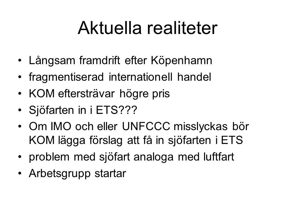 Aktuella realiteter Långsam framdrift efter Köpenhamn fragmentiserad internationell handel KOM eftersträvar högre pris Sjöfarten in i ETS??.