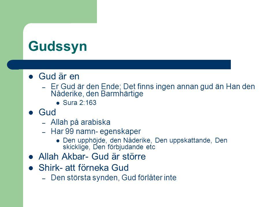 Gudssyn Gud är en – Er Gud är den Ende; Det finns ingen annan gud än Han den Nåderike, den Barmhärtige Sura 2:163 Gud – Allah på arabiska – Har 99 nam