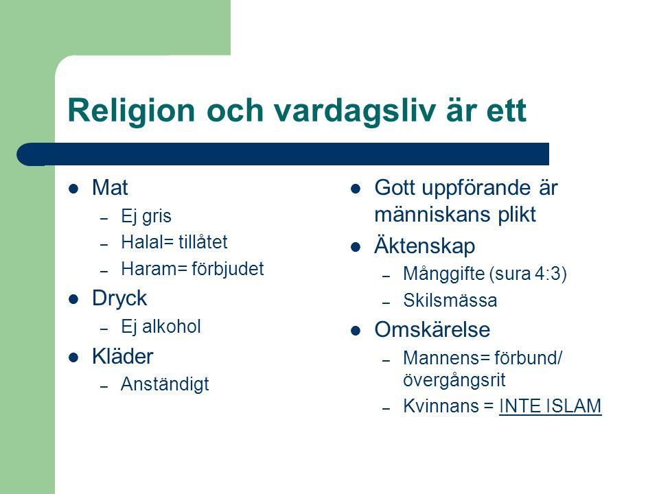 Religion och vardagsliv är ett Mat – Ej gris – Halal= tillåtet – Haram= förbjudet Dryck – Ej alkohol Kläder – Anständigt Gott uppförande är människans