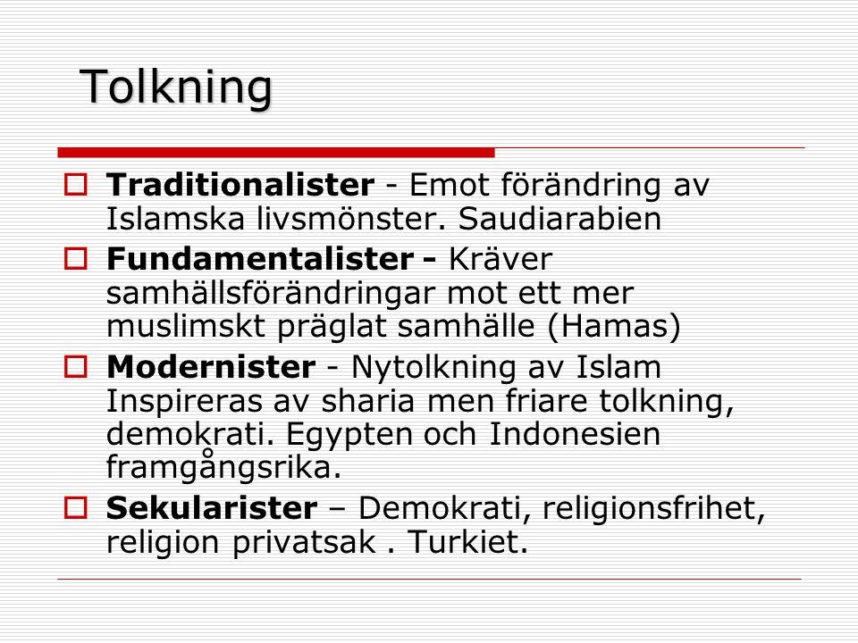 Tolkning  Traditionalister - Emot förändring av Islamska livsmönster.