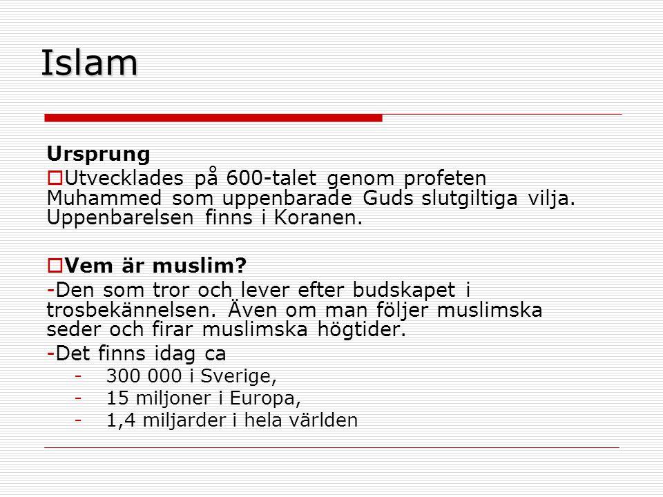 Islam Ursprung  Utvecklades på 600-talet genom profeten Muhammed som uppenbarade Guds slutgiltiga vilja.