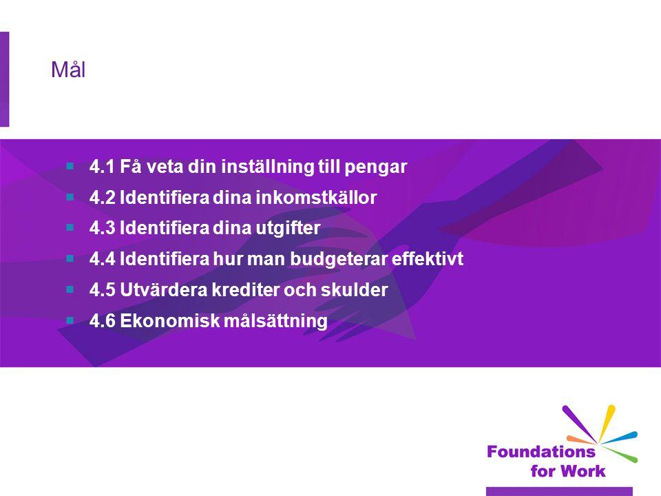 Mål  4.1 Få veta din inställning till pengar  4.2 Identifiera dina inkomstkällor  4.3 Identifiera dina utgifter  4.4 Identifiera hur man budgeterar effektivt  4.5 Utvärdera krediter och skulder  4.6 Ekonomisk målsättning
