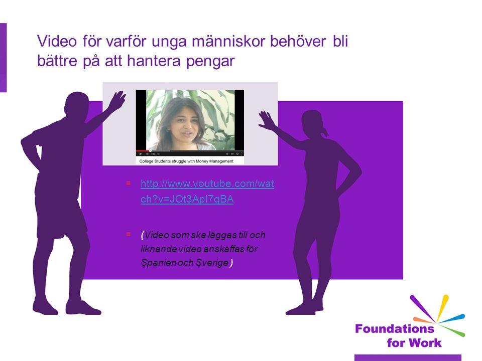 Video för varför unga människor behöver bli bättre på att hantera pengar  http://www.youtube.com/wat ch v=JOt3Apl7qBA http://www.youtube.com/wat ch v=JOt3Apl7qBA  ( Video som ska läggas till och liknande video anskaffas för Spanien och Sverige )