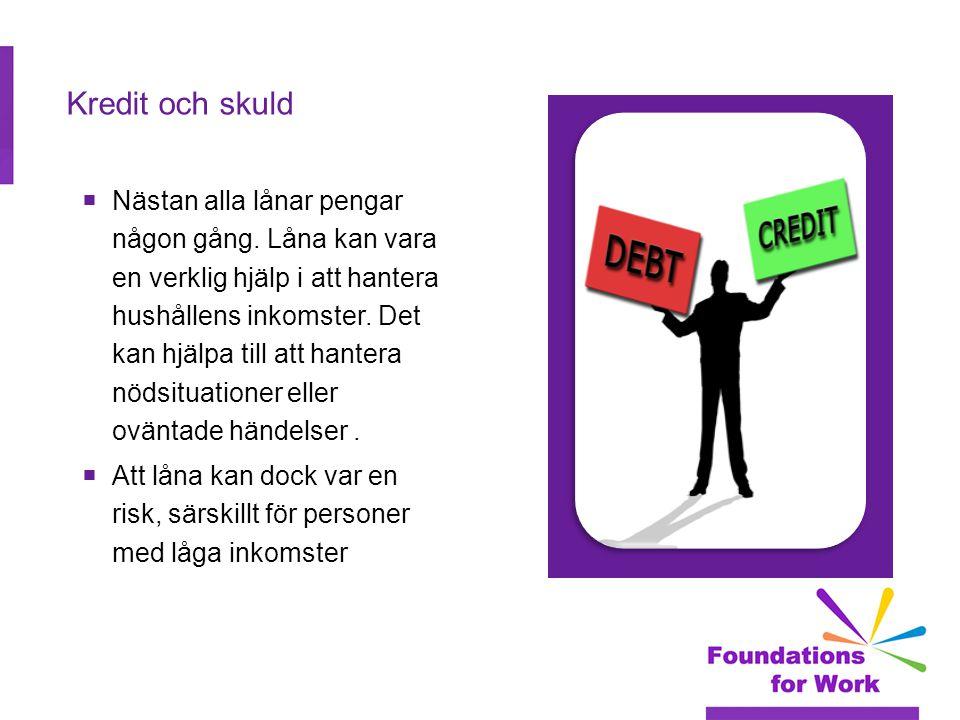 Kredit och skuld  Nästan alla lånar pengar någon gång.
