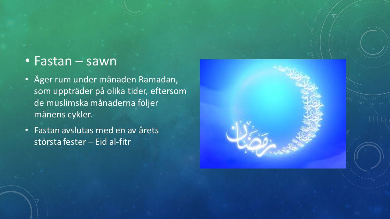 Fastan – sawn Äger rum under månaden Ramadan, som uppträder på olika tider, eftersom de muslimska månaderna följer månens cykler.