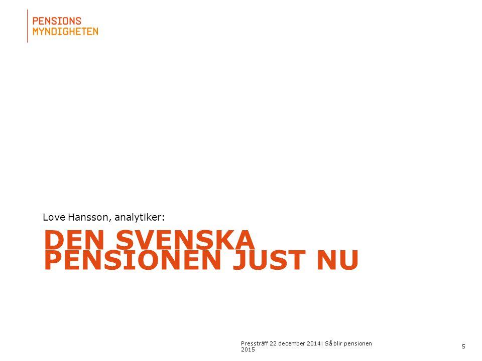 För att uppdatera sidfotstexten, gå till menyn: Visa/Sidhuvud och sidfot... DEN SVENSKA PENSIONEN JUST NU Love Hansson, analytiker: 5 Pressträff 22 de