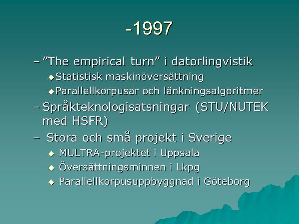 -1997 – The empirical turn i datorlingvistik  Statistisk maskinöversättning  Parallellkorpusar och länkningsalgoritmer –Språkteknologisatsningar (STU/NUTEK med HSFR) – Stora och små projekt i Sverige  MULTRA-projektet i Uppsala  Översättningsminnen i Lkpg  Parallellkorpusuppbyggnad i Göteborg