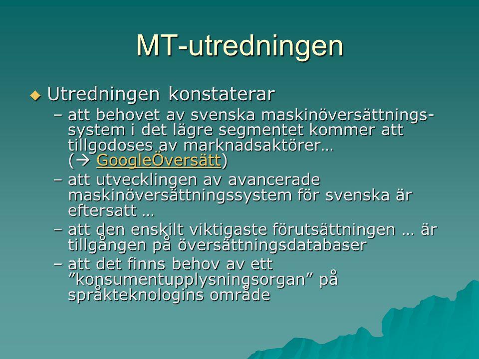 MT-utredningen  Utredningen konstaterar –att behovet av svenska maskinöversättnings- system i det lägre segmentet kommer att tillgodoses av marknadsaktörer… (  GoogleÖversätt) GoogleÖversätt –att utvecklingen av avancerade maskinöversättningssystem för svenska är eftersatt … –att den enskilt viktigaste förutsättningen … är tillgången på översättningsdatabaser –att det finns behov av ett konsumentupplysningsorgan på språkteknologins område