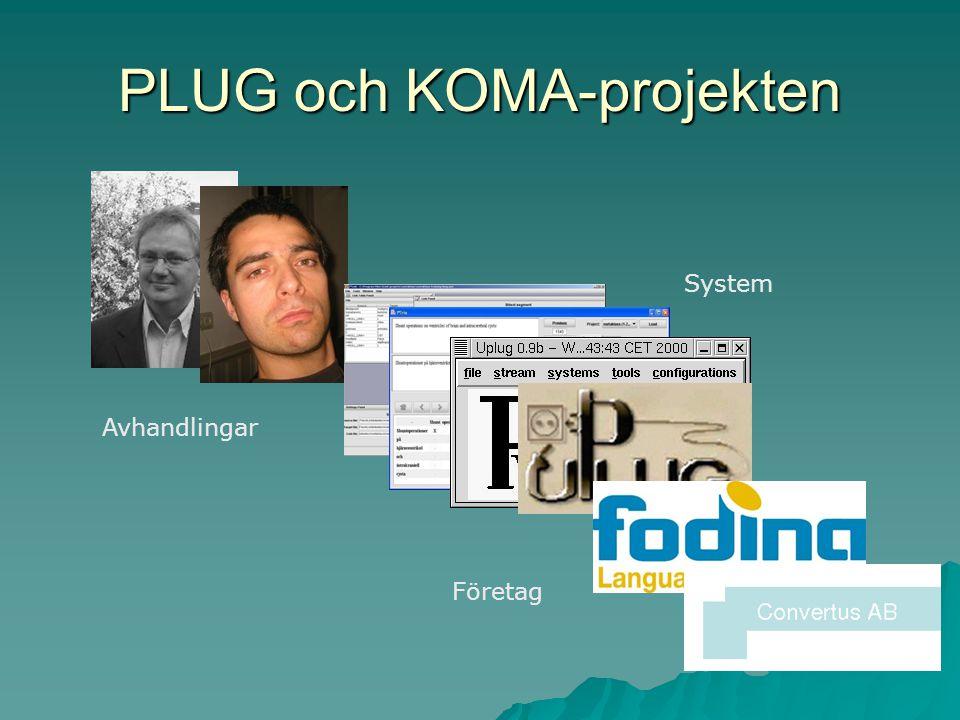 PLUG och KOMA-projekten Avhandlingar System Företag