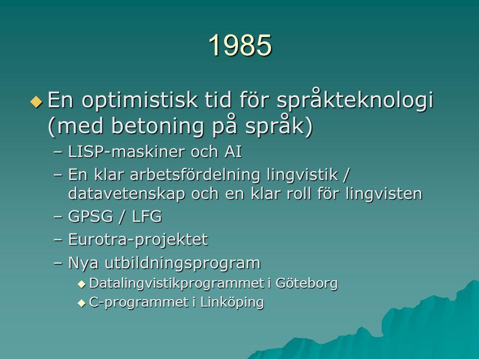 1985  En optimistisk tid för språkteknologi (med betoning på språk) –LISP-maskiner och AI –En klar arbetsfördelning lingvistik / datavetenskap och en klar roll för lingvisten –GPSG / LFG –Eurotra-projektet –Nya utbildningsprogram  Datalingvistikprogrammet i Göteborg  C-programmet i Linköping