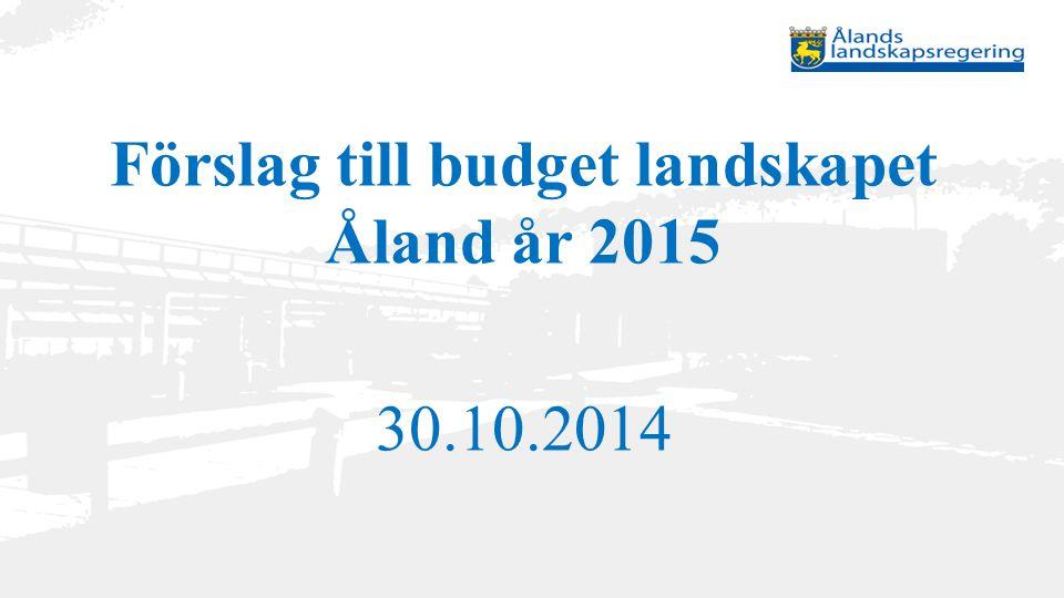 Förslag till budget landskapet Åland år 2015 30.10.2014