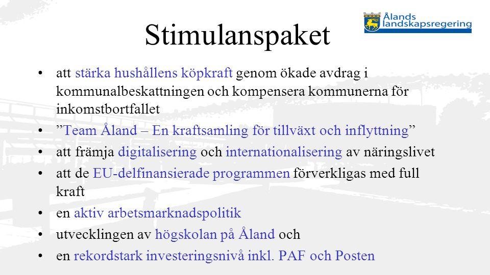 """Stimulanspaket att stärka hushållens köpkraft genom ökade avdrag i kommunalbeskattningen och kompensera kommunerna för inkomstbortfallet """"Team Åland –"""