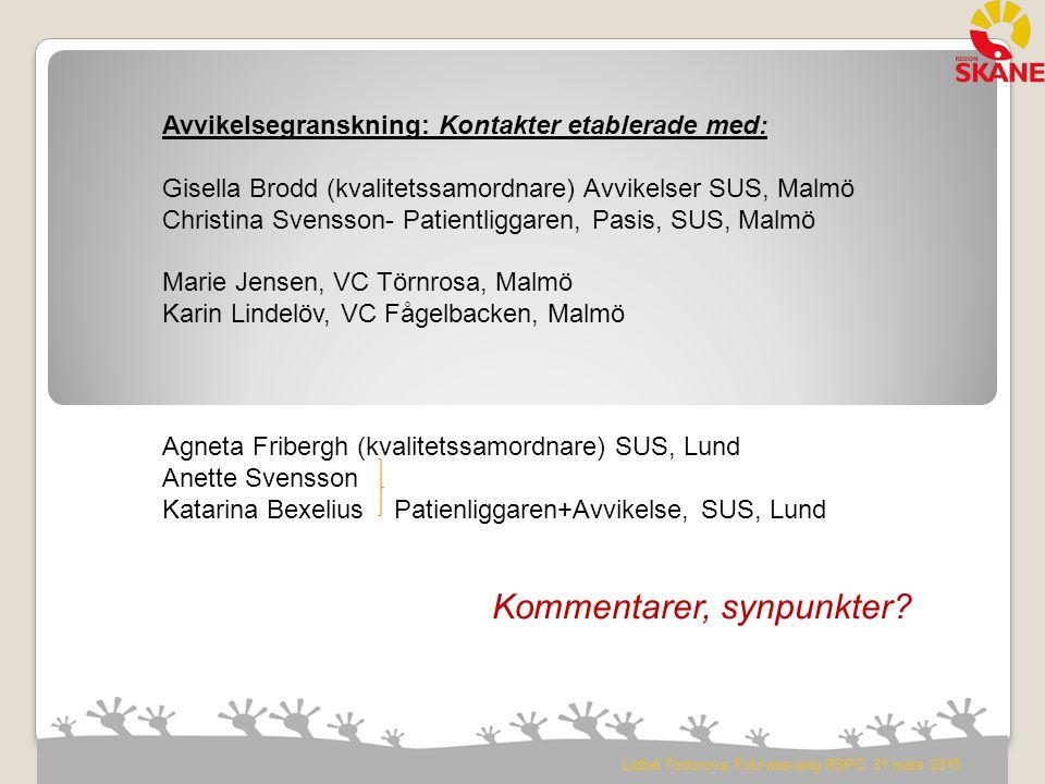 Lizbet Todorova, FoU-ansvarig RSPC, 31 mars 2015 Avvikelsegranskning: Kontakter etablerade med: Gisella Brodd (kvalitetssamordnare) Avvikelser SUS, Ma