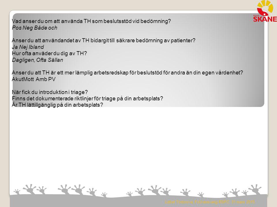 Lizbet Todorova, FoU-ansvarig RSPC, 31 mars 2015 Vad anser du om att använda TH som beslutsstöd vid bedömning? Pos Neg Både och Anser du att användand