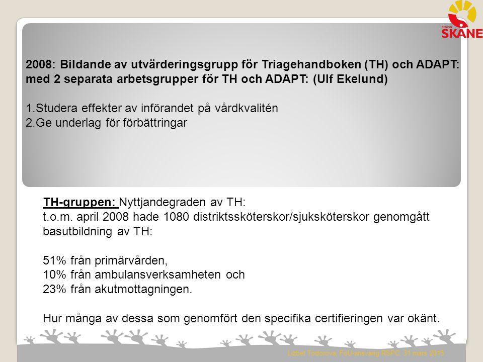 2008: Bildande av utvärderingsgrupp för Triagehandboken (TH) och ADAPT: med 2 separata arbetsgrupper för TH och ADAPT: (Ulf Ekelund) 1.Studera effekte