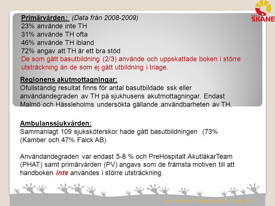 Magister uppsats Borås 2011: Kan patienter som av ambulanssjuksköterskan triageras gröna enligt METTS hänvisas till sin vårdcentral? Johan Larsson, Emma Stendahl Totalt 94 patientfall gröntriagerade av ambulans ssk: Efter triage akutssk bedömning: 16 av dessa omprioriterades på akutmott till högre prioritet 5 av dessa bedömdes kunna söka hjälp på VC Efter läkarbedömning: 51 % hade kunnat transporteras med ambulansen direkt till en vårdcentral Av de 48 patienter som bedömdes kunna söka sin vårdcentral inkom 22 patienter till akutmottagningen mellan kl 08 – 16.