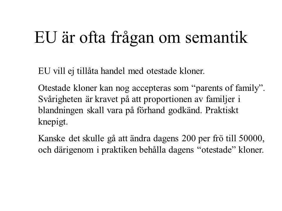 EU är ofta frågan om semantik EU vill ej tillåta handel med otestade kloner.