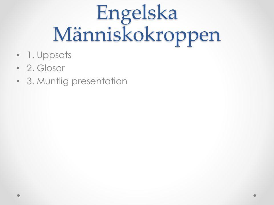 Engelska Människokroppen 1. Uppsats 2. Glosor 3. Muntlig presentation