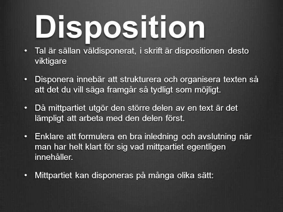 Disposition Tal är sällan väldisponerat, i skrift är dispositionen desto viktigareTal är sällan väldisponerat, i skrift är dispositionen desto viktiga