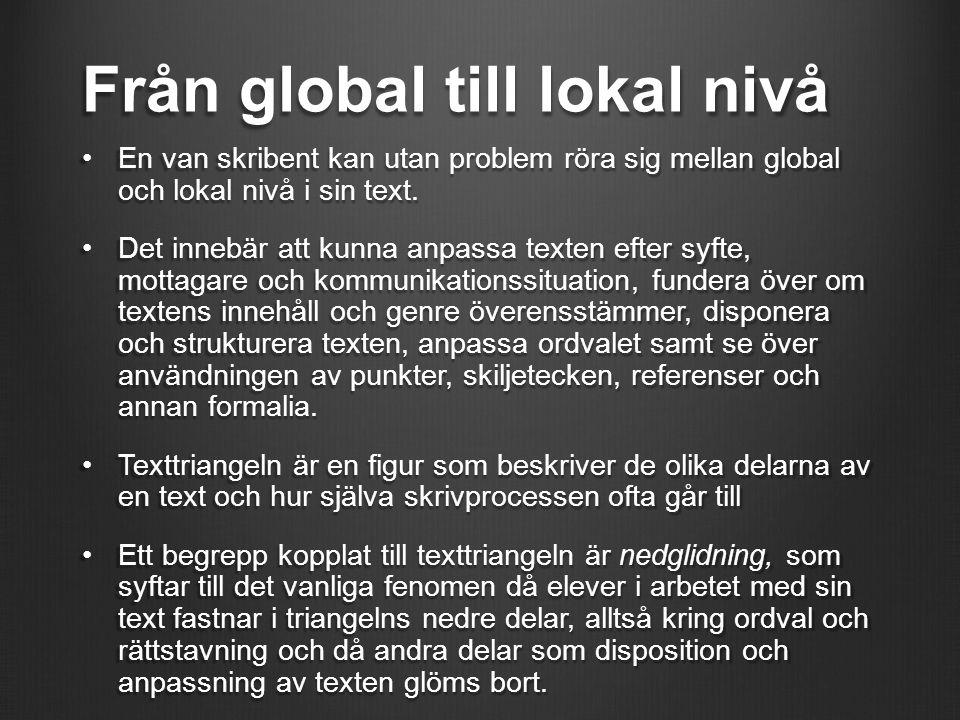 Från global till lokal nivå En van skribent kan utan problem röra sig mellan global och lokal nivå i sin text.En van skribent kan utan problem röra si