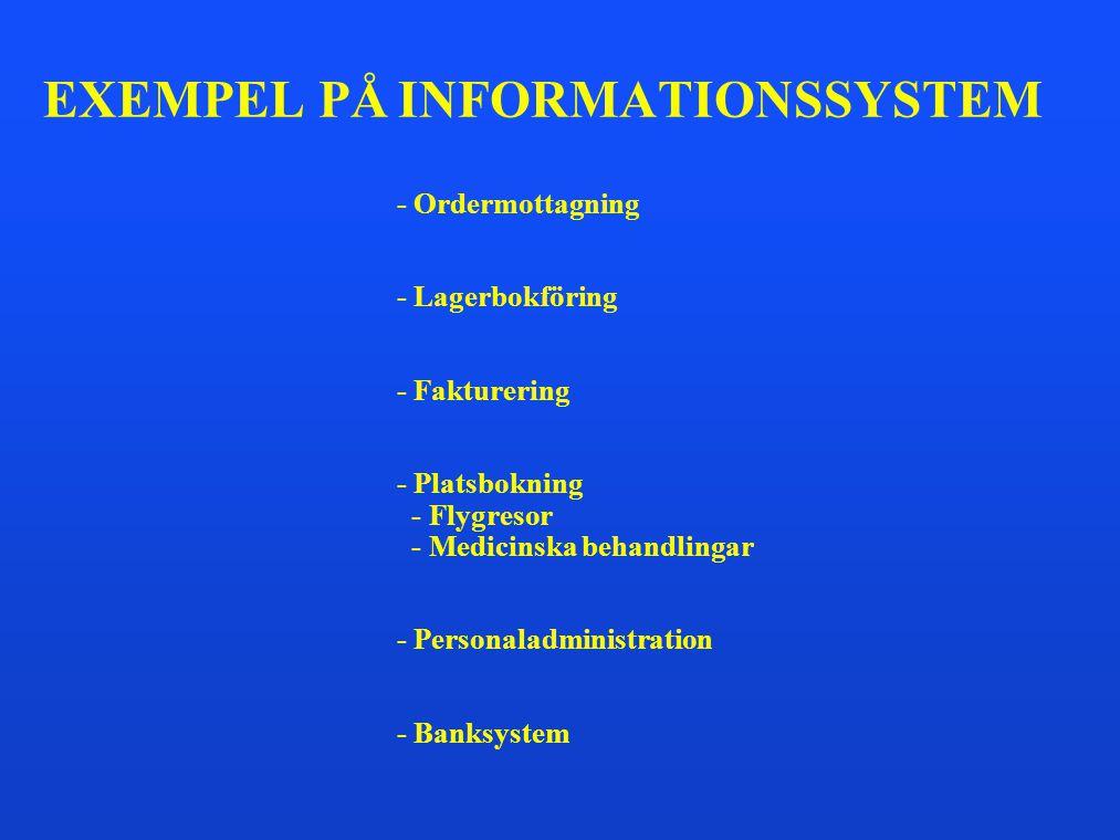 EXEMPEL PÅ INFORMATIONSSYSTEM - Ordermottagning - Lagerbokföring - Fakturering - Platsbokning - Flygresor - Medicinska behandlingar - Personaladminist