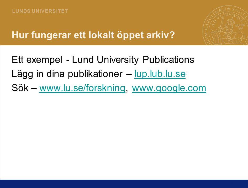 11 L U N DS U N I V E R S I T ET Hur fungerar ett lokalt öppet arkiv? Ett exempel - Lund University Publications Lägg in dina publikationer – lup.lub.