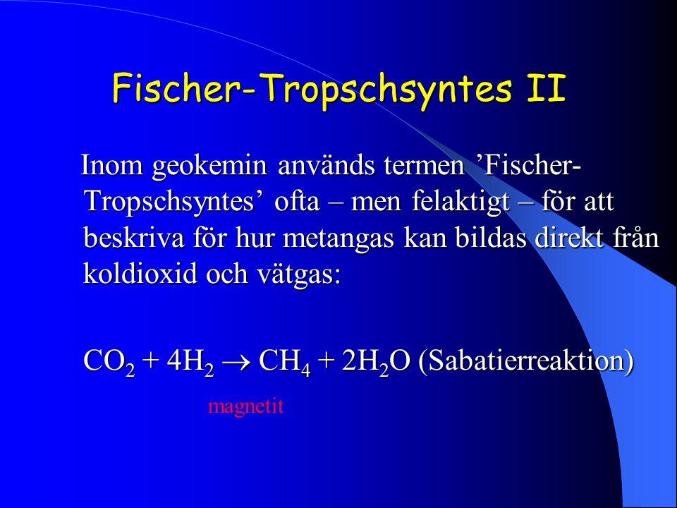 Fischer-Tropschsyntes II Inom geokemin används termen 'Fischer- Tropschsyntes' ofta – men felaktigt – för att beskriva för hur metangas kan bildas dir