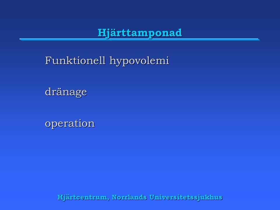 Hjärttamponad Funktionell hypovolemi dränageoperation