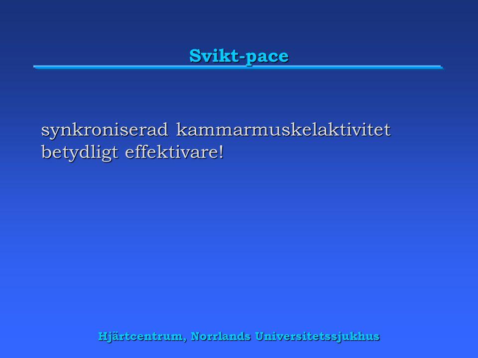 Hjärtcentrum, Norrlands Universitetssjukhus Svikt-pace synkroniserad kammarmuskelaktivitet betydligt effektivare!