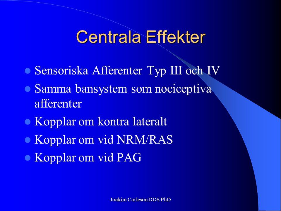 Centrala Effekter Sensoriska Afferenter Typ III och IV Samma bansystem som nociceptiva afferenter Kopplar om kontra lateralt Kopplar om vid NRM/RAS Ko