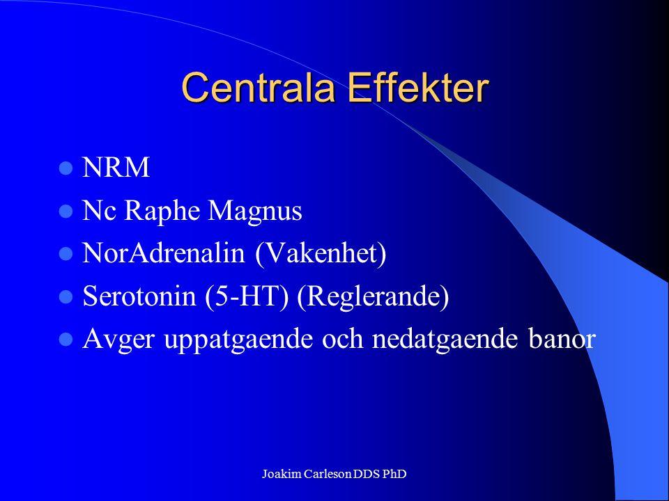 Centrala Effekter NRM Nc Raphe Magnus NorAdrenalin (Vakenhet) Serotonin (5-HT) (Reglerande) Avger uppatgaende och nedatgaende banor Joakim Carleson DD