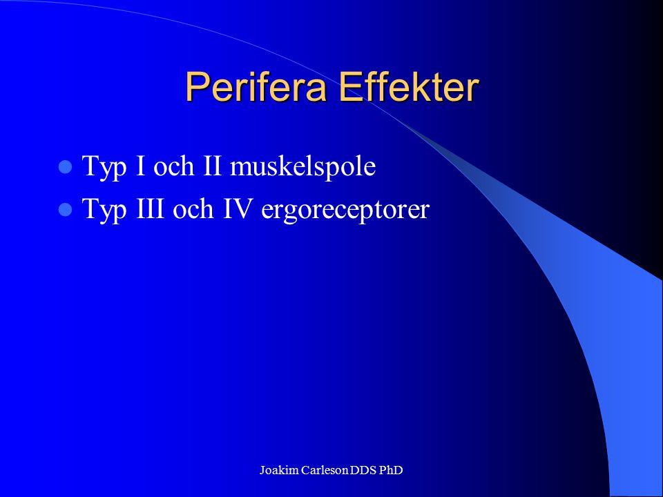 Perifera Effekter Typ I och II muskelspole Typ III och IV ergoreceptorer Joakim Carleson DDS PhD