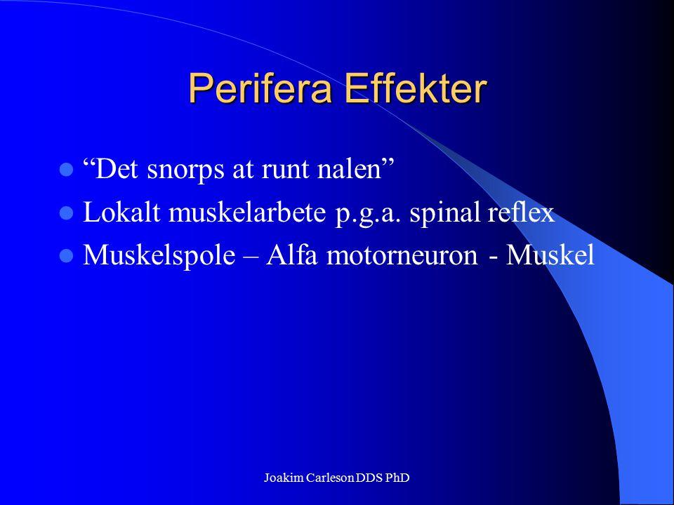 "Perifera Effekter ""Det snorps at runt nalen"" Lokalt muskelarbete p.g.a. spinal reflex Muskelspole – Alfa motorneuron - Muskel Joakim Carleson DDS PhD"