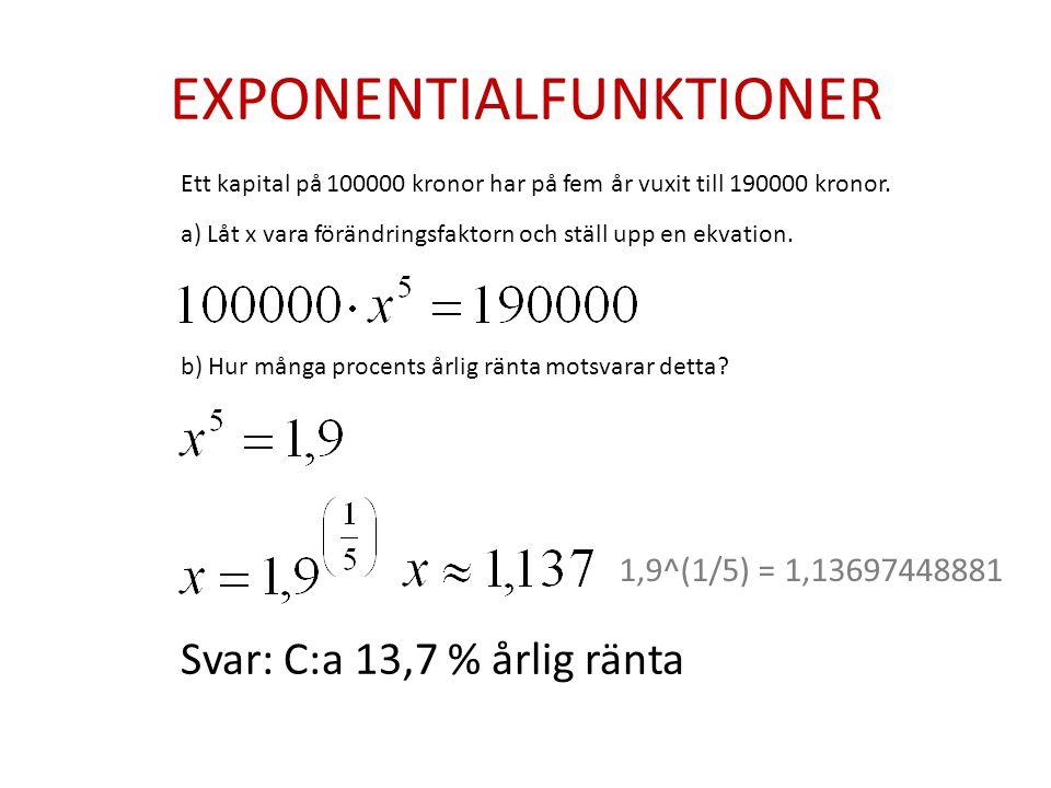 EXPONENTIALFUNKTIONER Ett kapital på 100000 kronor har på fem år vuxit till 190000 kronor.