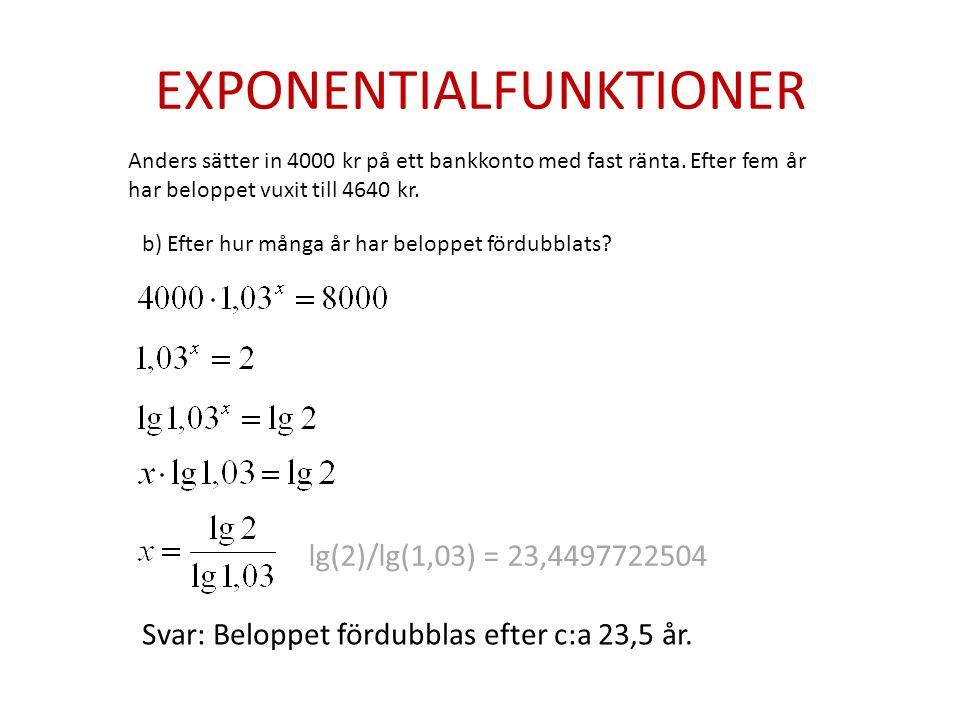 EXPONENTIALFUNKTIONER Anders sätter in 4000 kr på ett bankkonto med fast ränta.